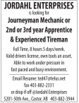 Journeyman Mechanic or 2nd or 3rd year Apprentice & Experienced Tireman