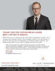 THANK YOU FOR VOTING BRIAN LUNDE BEST LAWYER IN REGINA