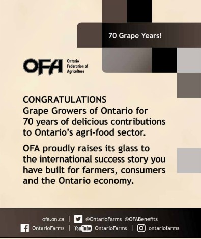 CONGRATULATIONS Grape Growers of Ontario for 70 years of delicious contributions to Ontario's agri-food sector