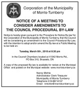 NOTICE OF A MEETING TO CONSIDER AMENDMENTS TO THE COUNCIL PROCEDURAL BY-LAW