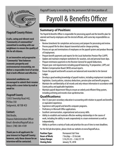 Payroll & Benefits Officer Wanted
