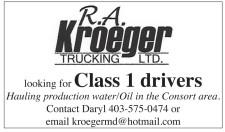 R.A. Kroeger TRUCKING LTD.  looking for Class 1 drivers