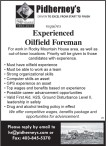 Experienced Oilfield Foreman