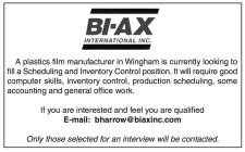 Scheduling and Inventory Control position wanted