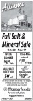 Fall Salt & Mineral Sale Oct. 20 - Nov. 17