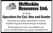McMeekin Resources Ltd. is hiring Operators for Cat, Hoe and Grader