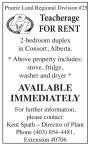 Teacherage FOR RENT  2-bedroom duplex in Consort, Alberta.