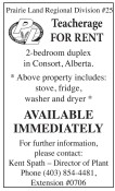 Teacherage FOR RENT  2-bedroom duplex in Consort, Alberta.