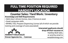 FULL TIME POSITION REQUIRED