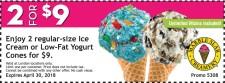 Enjoy 2 regular-size Ice Cream or Low-Fat Yogurt Cones at Marble Slab
