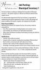 Job Posting: Municipal Secretary 1