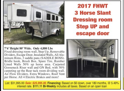 2017 Fhwt 3 Horse Slant Dressing Room Step Up And Escape Door