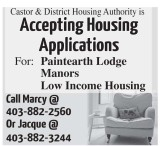 Accepting Housing Applications  For: Paintearth Lodge Manors Low Income Housing