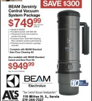 BEAM Sereinty Central Vacuum System Package