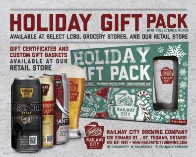 Railway City Brewing HOLIDAY GIFT PACK WITH COLLECTABLE GLASS