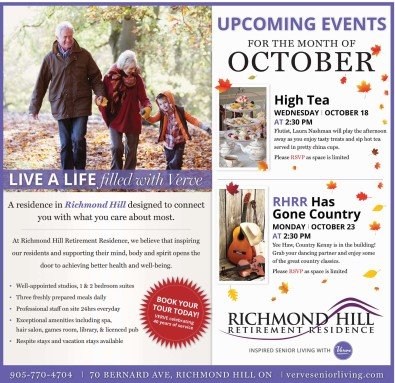 UPCOMING EVENTS FOR THE MONTH OF OCTOBER