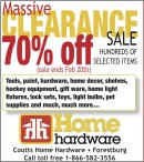 70% off HUNDREDS OF SELECTED ITEMS at Coutts Home Hardware