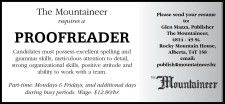 The Mountaineer requires a PROOFREADER