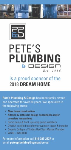 PETE'S PLUMBING & DESIGN Est. 1986 is a proud sponsor of the 2018 DREAM HOME
