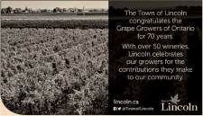 The Town of Lincoln congratulates the Grape Growers of Ontario for 70 years.