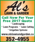 Call Al's LAWN & GARDEN For Your Free 2017 Quote