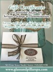 Gift Certificates at The Glass & Pillar