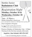 Stettler Junior Badminton Club  Registration Night Monday, October 16