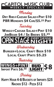 Weekly Specials At Capitol Music Club