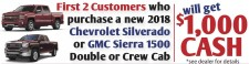 Purchase a new 2018 Chevrolet Silverado or GMC Sierra 1500 Double or Crew Cab, get $1000.