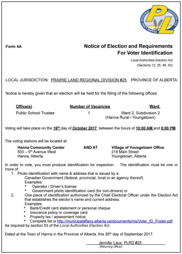 Notice of Election and Requirements For Voter Identification