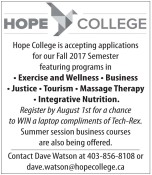 Hope College is accepting applications for our Fall 2017 Semester