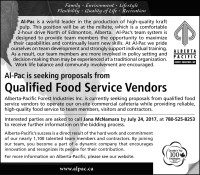 Al-Pac is seeking proposals from Qualified Food Service Vendors