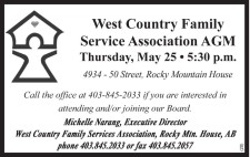 West Country Family Service Association AGM  Thursday, May 25