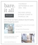 Join us for our bare. product launch party and shopping event