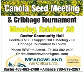 Canola Seed Meeting & Cribbage Tournament Monday, October 30