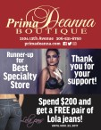 Prima Deanna BOUTIQUE voted Runner-up for Best Specialty Store