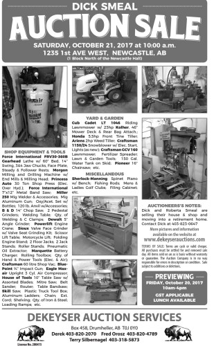 DICK SMEAL AUCTION SALE SATURDAY, OCTOBER 21