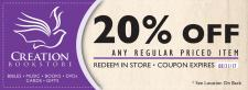 20% OFF ANY REGULAR PRICED ITEM at Creation Bookstore