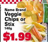 Name Brand Veggie Chips or Stix 140g