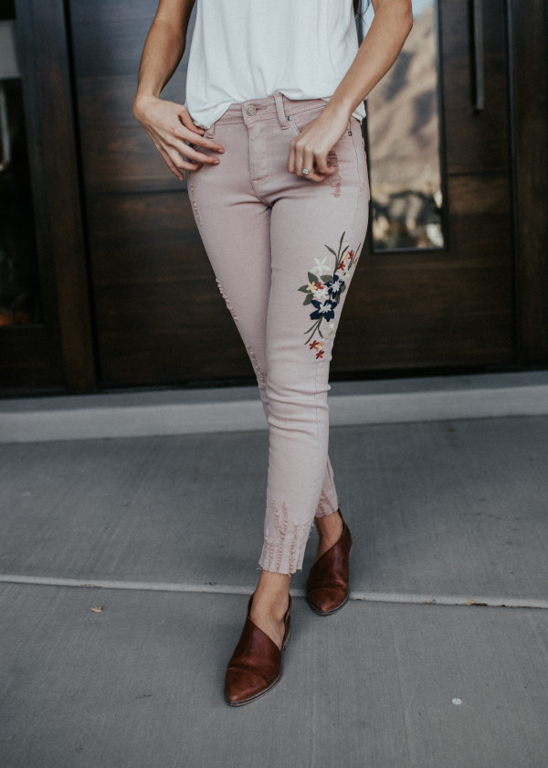 Simply Sweet Embroidered Jeans (Blush)