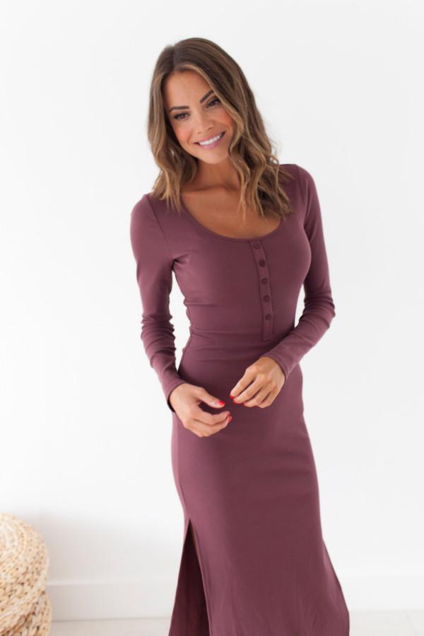Henley Dress (Wine)