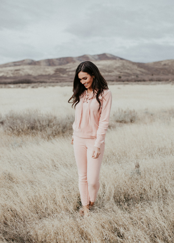 Lace-Up Velour Track Suit (Pink)