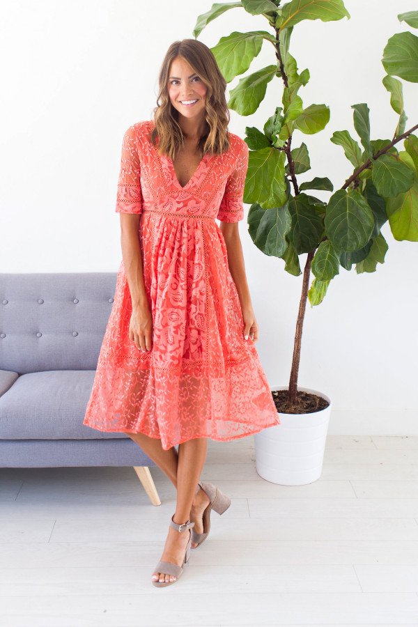 Falling For You Dress (Coral)