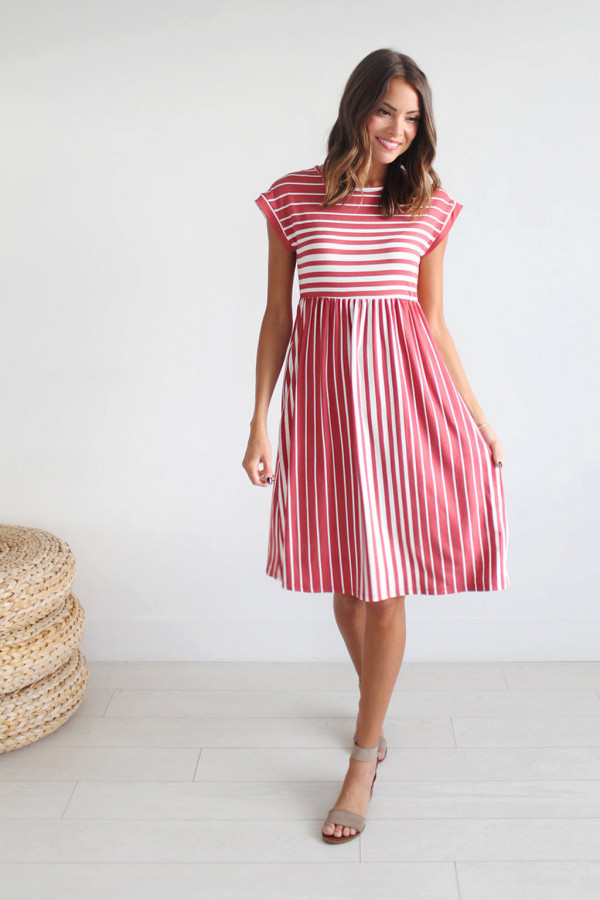 Seeing Stripes Dress (Red)