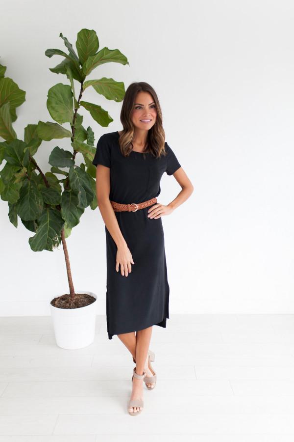 Essential T-Shirt Dress (Black)