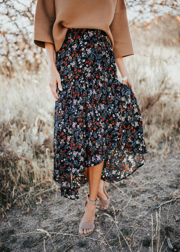 Walk This Way Wrap Skirt (Black)