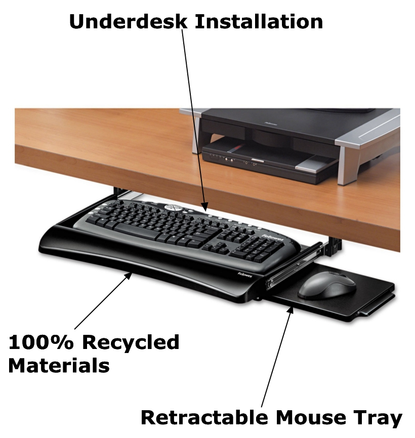 Fellowes 174 Office Suites Underdesk Black Keyboard Drawer