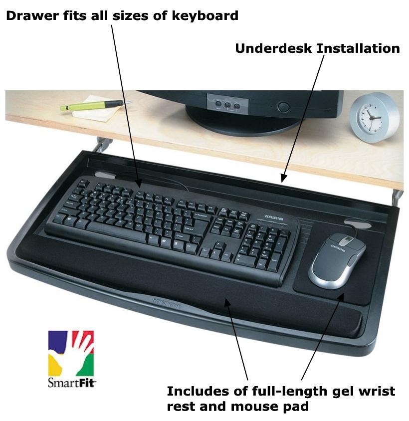 Kensington 174 Smartfit Underdesk Comfort Keyboard Drawer 611012