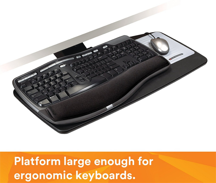 the starknob adjustment ensures easy adjustment of height and tilt adjustable keyboard trays with standard platform contain 70 percent - Keyboard Tray