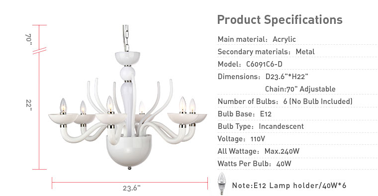 White acrylic 6 lights chandelier living canada product overview mozeypictures Images